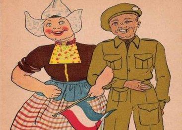 Ansichtkaart Nederlandse vrouw en geallieerde soldaat (detail)